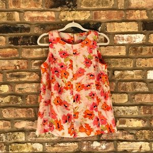 Loft Sleeveless Orange Floral Top Size S